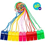 The Twiddlers 60 Pcs Bulk Plastic Whistles w/ Nylon Braided Cord Lanyards - Assorted Neon Color - Kids Birthday Party | Goodie Bag Fillers | Lucky Dip Favors | Football, Basketball and Other Sports