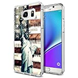 Note 5 Case Statue of Liberty pattern, LAACO Scratch Resistant TPU Gel Rubber Soft Skin Silicone Protective Case Cover for Samsung Galaxy Note 5