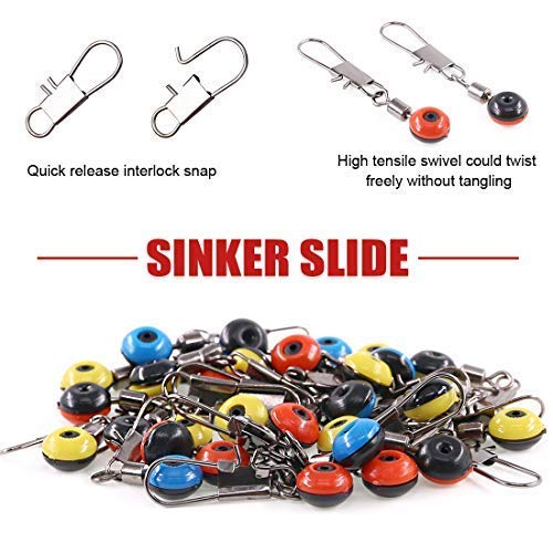 WXQ-XQ 200 Pcs 3 Sizes Stainless Steel Fishing Line Sinker Slide with Glowing Fishing Beads Large//Medium//Small Sizes High Strength Hook Shank Clip Connector Fishing Ball Bearing Swivel Connector