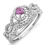 14K White Gold Round Pink Sapphire & White Diamond Halo Style Bridal Engagement Ring Set (Size 9)