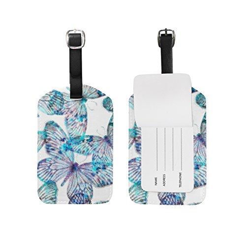 - Butterfly Travel Leather Luggage Baggage Tags ID Labels(2PCS)