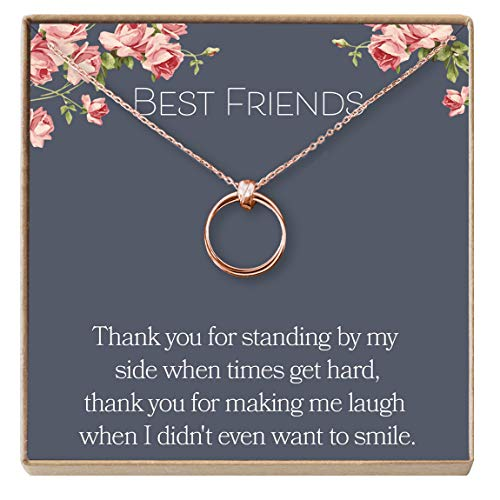 Dear Ava Necklace: BFF, Long Distance, Friends Forever, 2 Linked Circles (Rose-Gold-Plated-Bronze, NA)