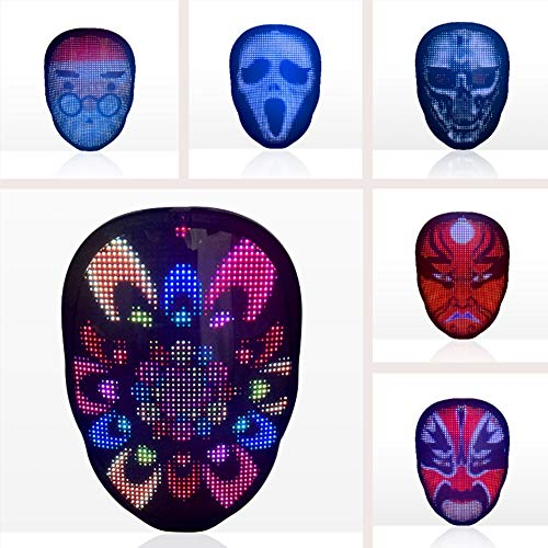 Hankyky LED Display Mask Halloween Glowing Mask Bluetooth Editing Full Color Color Changing Party Led Mask Masquerade Mask Neon Mask In The Dark Horror Mask Party Props