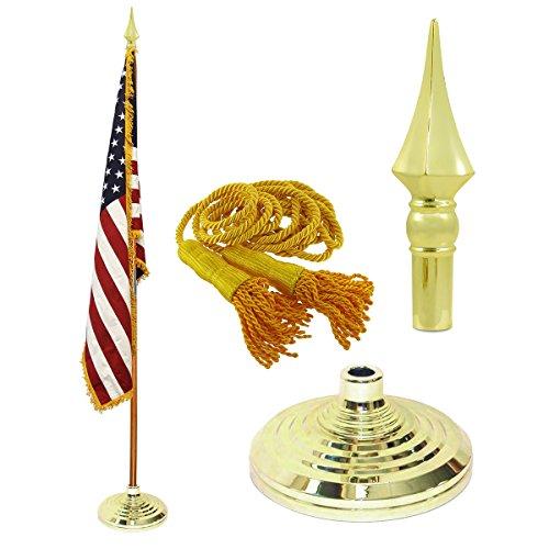 Indoor American Cotton Flag, Flagpole, Base & Tassel (Spear Plastic, 8 Ft Oak Pole)