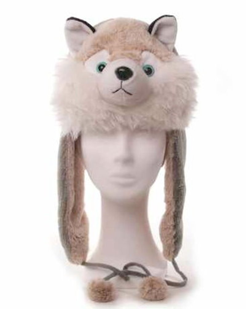 Mütze, Motiv Husky, grau/weiß, Pelzoptik, Tiermütze, Plüschmütze