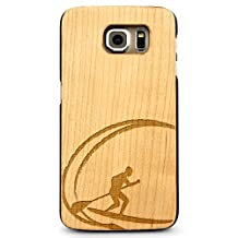 Laser Engraved Wood Case for Galaxy S6 Edge - Paddle Board Surf Ocean Wave (Maple Case)