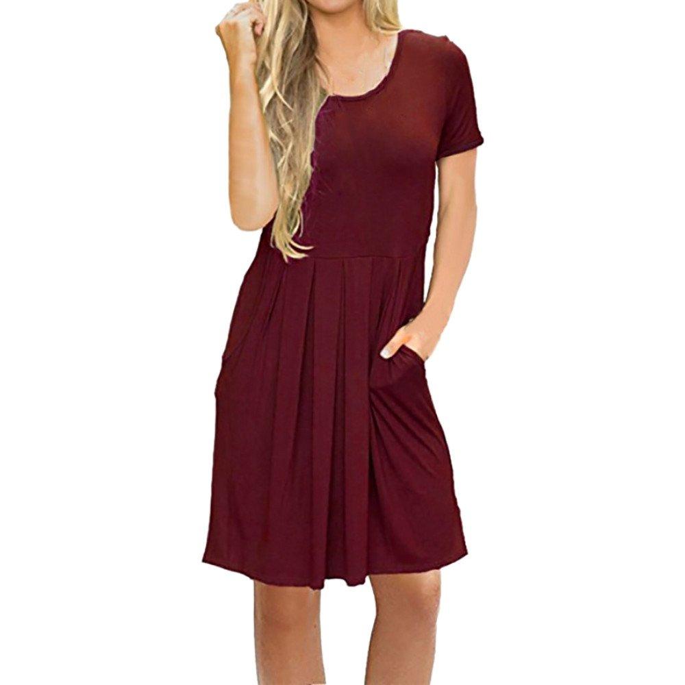 Women's Long Sleeve Pocket Casual Loose T-Shirt Dress Red