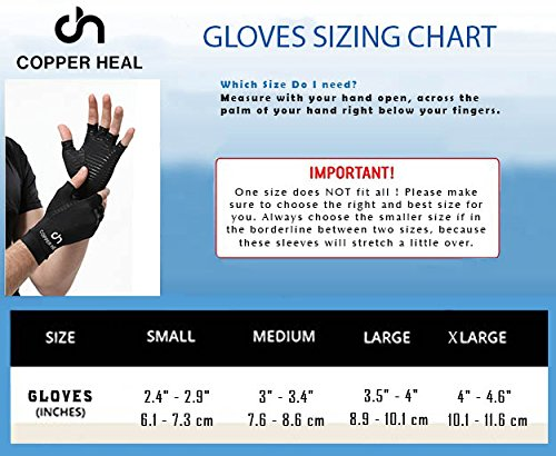 COPPER HEAL Arthritis Compression Gloves - Best Medical Copper Glove Guaranteed to Work for Rheumatoid Arthritis, Carpal Tunnel, RSI Osteoarthritis & Tendonitis Open in Fingers Fingerless Fit Size S by COPPER HEAL (Image #3)