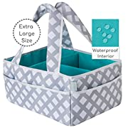 Baby Diaper Caddy Organizer Extra Large | Nursery Storage | Changing Table Bin | Portable Basket Car Travel | Wipes Toys Essentials Bag | Premium Cotton | Spill Proof Compartments | Gift