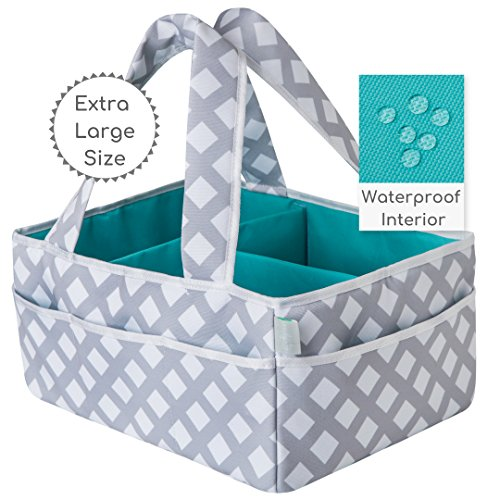 Baby Diaper Caddy Organizer Extra Large | Nursery Storage | Changing Table Bin | Portable Basket Car Travel | Wipes Toys Essentials Bag | Premium Cotton | Spill Proof Compartments | Gift by Oodydoo