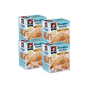 Quaker Breakfast Squares, Soft Baked Bars, Peanut Butter, 5 Bars (Pack of 4)