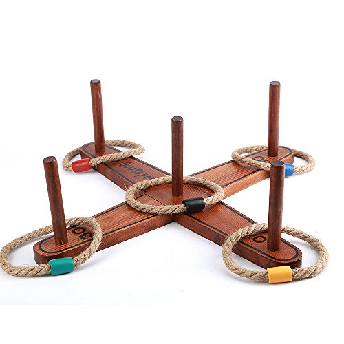Goutoports Wooden Loop & Hoop Ring Toss Game Set, Kids and Adults Games with 5 Quoits Rope and Carrying Bag
