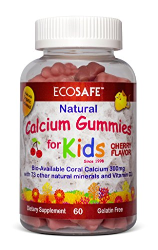 Coral Calcium Kids Gummy - Natural Cherry Flavor - Gluten-Free, Dairy-Free, Soy-Free and Gelatin Free - 300 mg of Calcium, and 500 IU of Vitamin D3-60 Gummies (1 ()