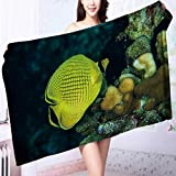 Quick dry bath towel diver yellow fish scuba diving bunaken indonesia sea reef ocean Absorbent Ideal for everyday use L39.4 x W19.7 INCH