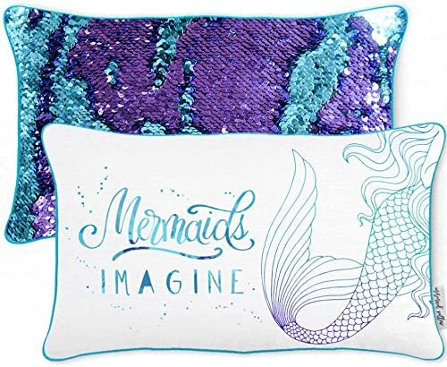 Mermaid Pillow w Reversible Sequins Cover Only