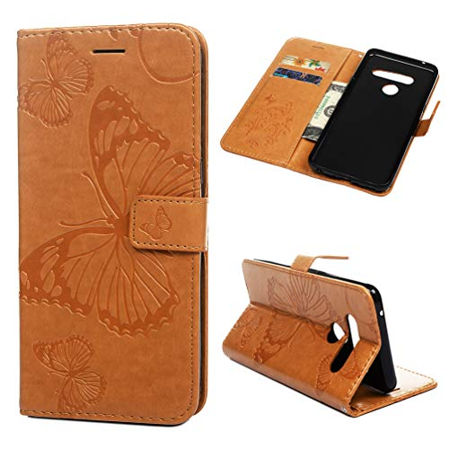 (Badalink Phone Case Compatible with LG V50/LG V50 ThinQ, Butterfly Embossing Leather Folio Wallet Case with TPU Inner Case, Shockproof Phone Protective Cover with Card Slots - Bisque)
