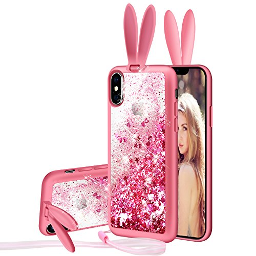 Iphone X Case Iphone 10 Case Glitter Cute Clear Back Phone Case Girls With Kickstand And Hang A Rope Luxury Fashion Bling Flowing Liquid Floating Sparkle Glitter Girly Tpu Bumper Case For Iphone X Buy