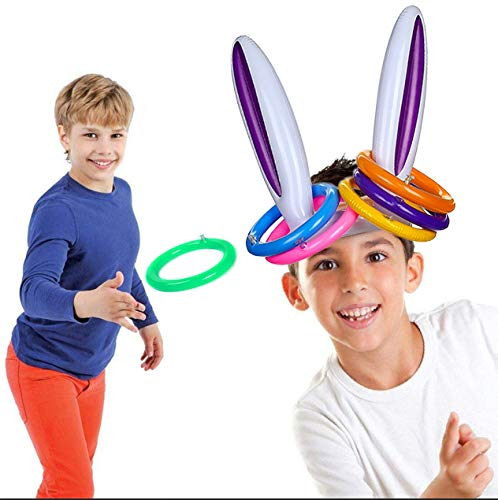 CCINEE Inflatable Bunny Rabbit Ears Rings Toss Game for Easter Party Favors