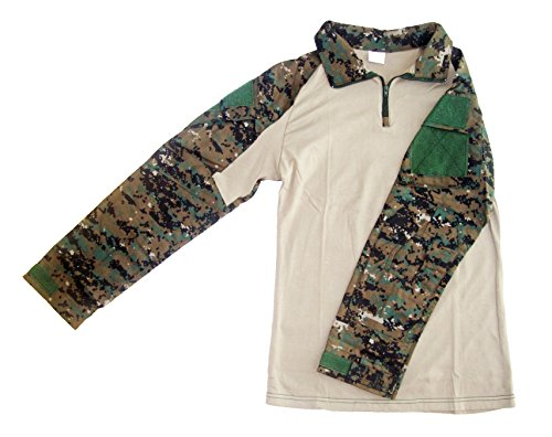ong Sleeve Combat Shirt (Digital Woodland MARPAT, Large) ()