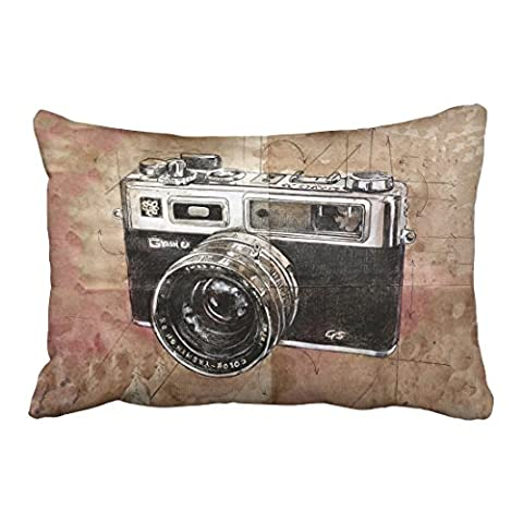 Emvency Decorative Throw Pillowcase Queen 20x30 Inches Vintage Watercolor Camera Painting Brown Retro Cotton Pillow Cover With Hidden Zipper Decor - Round Sterling Silver Wire Basket