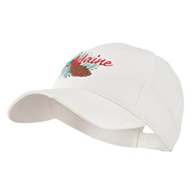 dccc687b4af E4hats USA State Flower Maine Pine Cone and Tassel Embroidered Cap - White  OSFM