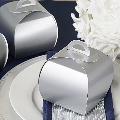 BalsaCircle 25 Silver Cupcake Purse Wedding Favors Boxes for Wedding Party Birthday Candy Gifts Decorations Supplies Wholesale