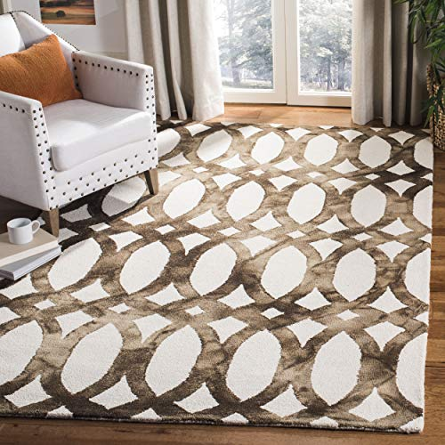Safavieh Dip Dye Collection DDY675E Handmade Geometric Watercolor Ivory and Chocolate Wool Area Rug (8