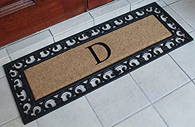 First Impression Exclusive Hand Crafted Myla Monogrammed Entry Doormat, Large Double Door Size (17.7 x 47.25)-RC2004