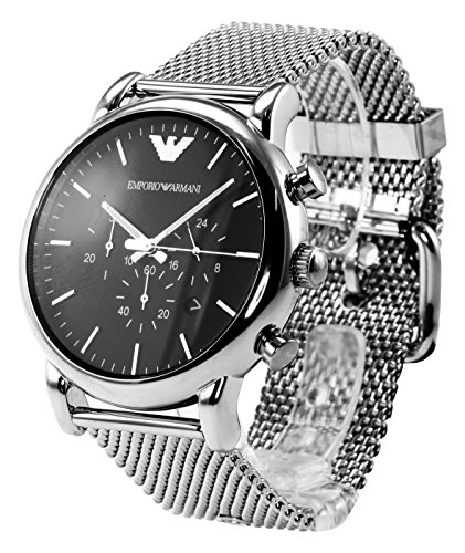 new emporio armani mens luigi watch silver mesh strap black dial chrono ar1808 ebay. Black Bedroom Furniture Sets. Home Design Ideas