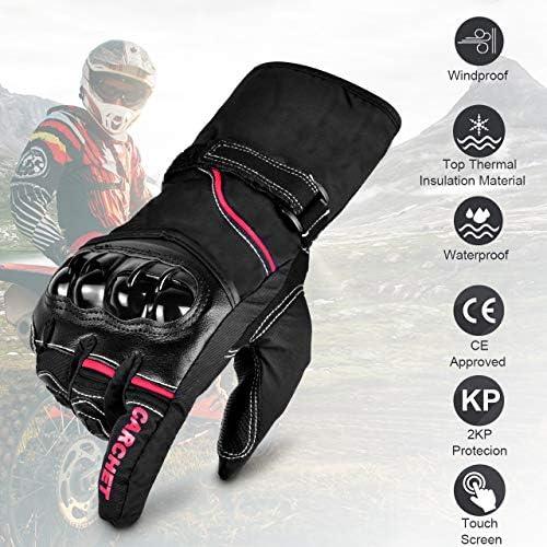 CARCHET Guanti Moto Invernali Autunnali Impermeabili Guanti Invernali con Velluto Morbido Interno Guanti Moto con Touch Screen Guanti da Moto CE con Protezione di Fibra Carbonio Rosso Taglia L