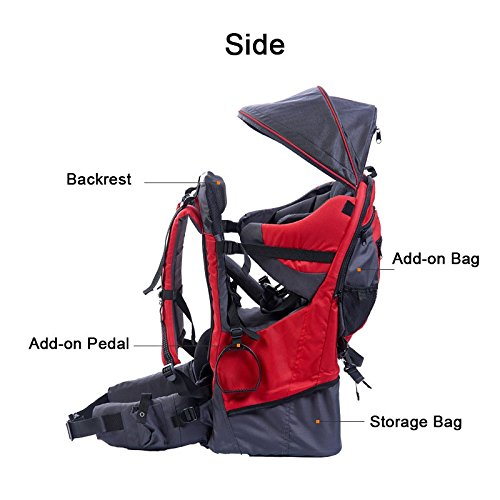 OLizee Foldable Outdoor Baby Kids Toddler Backpack Carrier with Canopy (Grey)