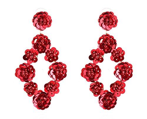ELEARD ELEARD Flower Earrings Braided Sequin Dangle Earrings Handmade Floral Drop Earrings for Women ()
