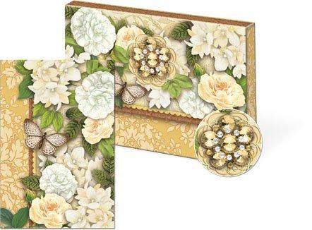 (Punch Studio Golden Garden Brooch Portfolio Notecards 10 Pack)
