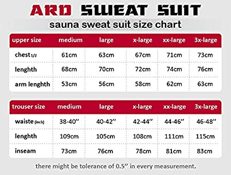 ARD Champs Heavy Duty Sweat Suit Sauna Exercise Gym Suit Fitness Weight Loss Anti-Rip