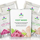 : Foot Peel Mask Set - 4 Pairs of Socks (2 Exfoliating / Peeling + 2 Nourishing) For Longer Lasting Baby Soft Feet After Exfoliation - Fast Dry Skin Treatment - Dead Skin Callus Remover