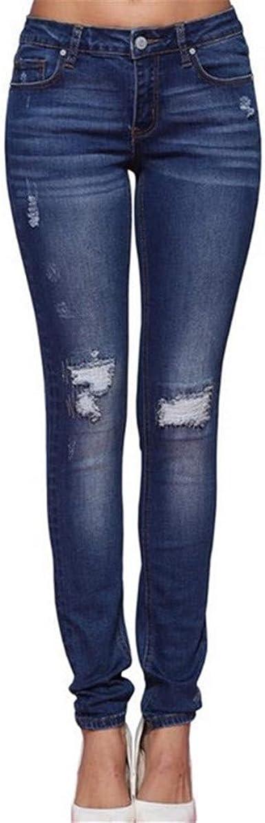 Ouduo Skinny Fit Jeans Vaqueros Rasgados Para Mujer Moda Jean Elastico Ajustados Pantalones De Mezclilla Con Agujeros Rasgados De Cintura Alta Pantalones Hasta La Pantorrilla Azul Oscuro Xxl Amazon Es Ropa Y Accesorios