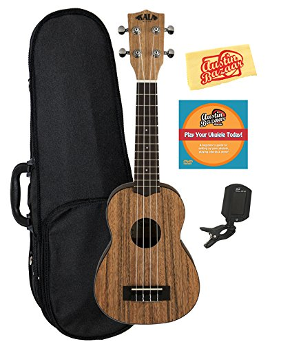 Kala KA-PWS Pacific Walnut Soprano Ukulele Bundle with Hard Case, Tuner, Austin Bazaar Instructional DVD, and Polishing Cloth by Kala