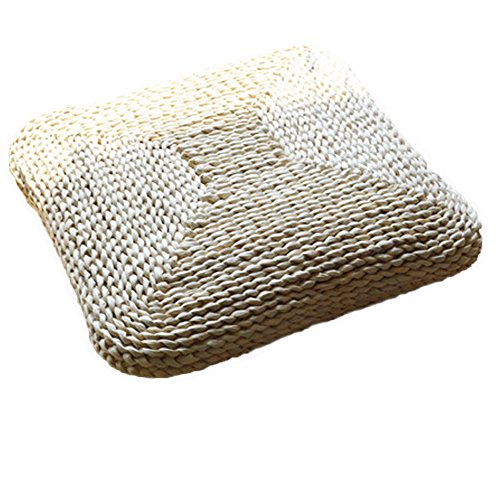 Handcrafted Eco-friendly Breathable Padded Knitted Straw Flat Seat Cushion Length 40cmX40cm(15.75 in)… by Layboo