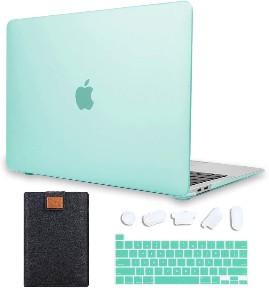 MAITTAO 4 in 1 Newest MacBook Pro 13 inch Case Model A2289 / A2251 (2020 Release), Plastic Pattern Hard Shell Case & Laptop Sleeve Bag & Keyboard Skin Cover for Mac Pro 13 Inch Touch Bar, Green