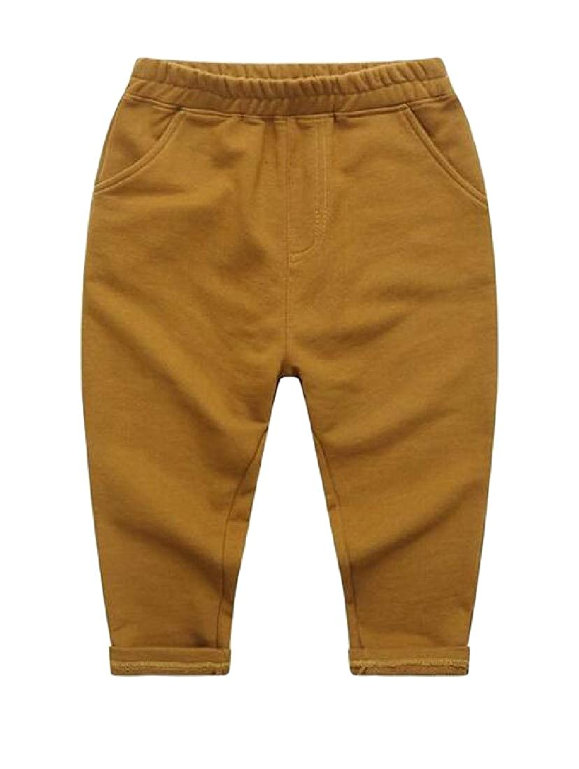 Etecredpow Big Boy Solid Color Harem Elastic-Waist Active Casual Pants
