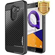 REVVL Case (T-Mobile) with [Tempered Glass Screen Protector], Alcatel A30 Fierce Case/Alcatel A30 Plus Case/Alcatel Walters, NageBee [Frost Clear] [Carbon Fiber] Slim Soft TPU Case - Black