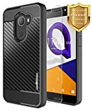 T-Mobile REVVL Case with Tempered Glass Screen Protector, Alcatel Walters /A30 Fierce (MetroPCS) /A30 Plus 5.5'', NageBee Carbon Fiber Ultra Slim Thin Soft TPU Protective Cover Case -Black
