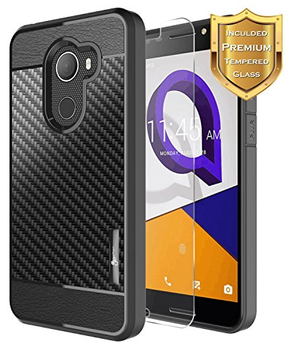 ) with [Tempered Glass Screen Protector], Alcatel A30 Fierce Case/Alcatel A30 Plus Case/Alcatel Walters, NageBee [Frost Clear] [Carbon Fiber] Slim Soft TPU Case - Black ()