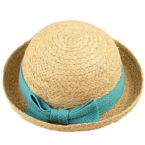 Mädchen Baby Mode Sommer Bowknotdekoration Crimpen Raffiabast Sonnen Hut Kinder Hut, Blau
