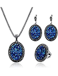 Classical Druzy 3 PCS Women Jewelry Set Sparkly Agate Gemstone Necklace Earring and Ring Set for Mother's Day Gift