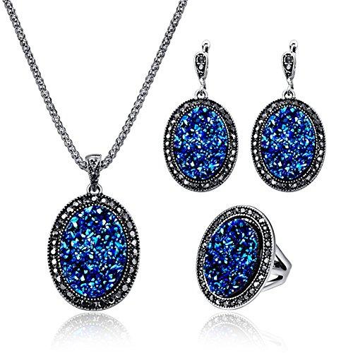Silver Alloy Oval Broken Rhinestone Women Crystal Necklace, Natural Agate Druzy Pierced Earring Fashion Jewelry Set - Blue+Ring#9