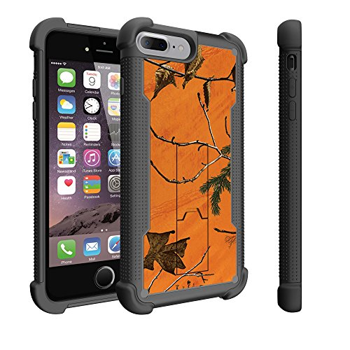 chic Untouchble Case for [Apple iPhone 8 Plus Case, iPhone 8 Plus Case] [Stealth Armor] Heavy Duty All Around Protector Case with Locking Kickstand - Orange Tree Camo