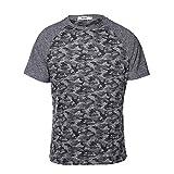 HEMIKS Camouflage Men`s Short Sleeve T-Shirt(Gray,XL)