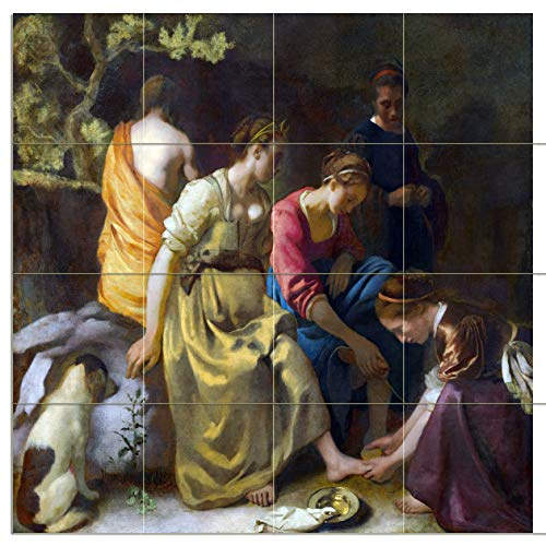 Tile Mural Diana and her Companions Girls Goddess Dog by Johannes Vermeer Kitchen Bathroom Shower Wall Backsplash Splashback 4x4 6