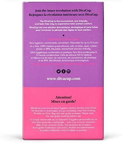 DivaCup Copa Menstrual, Para Aquellas De 19 A 30 Años De Edad Con Flujo Menstrual Medio, Modelo 1